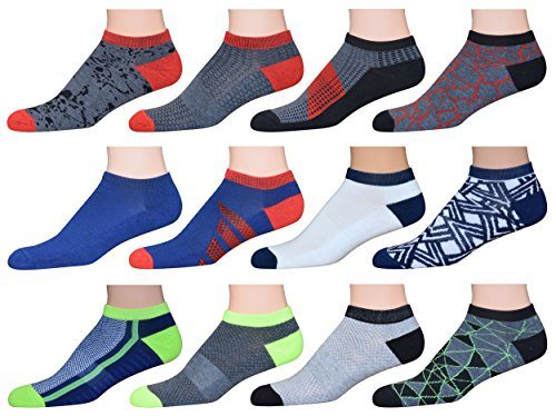 TopSTEP Men's Patterned Low Cut/No Show Athletic Performance Socks with Cushion Sole - 12 Pack, Sock Size 10-13