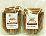"Indus Organics Real Ceylon (Sri Lanka) Cinnamon 3"" Sticks, 16 Oz (2 Bag 8 Oz), Premium Grade, Hand Selected, Freshly Packed"
