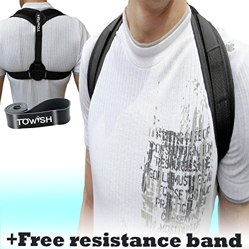 Posture Corrector for Women & Men - Effective & Comfortable Back Support for Clavicle Alignment & hunching - Adjustable Posture Brace providing relief for neck & back pain by Towish