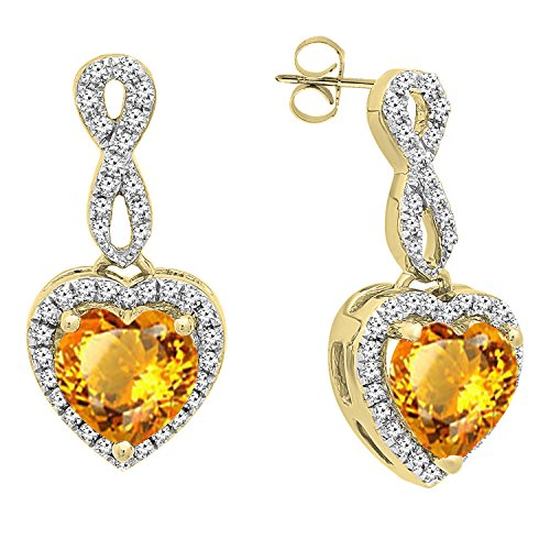 Dazzlingrock Collection 18K 6 MM Each Heart Citrine & Round Diamond Ladies Swirl Dangling Drop Earrings, Yellow ()
