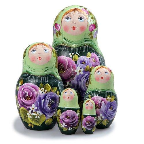 Matryoshka 5pcs Spring New Beautiful Green Wooden Russian Nesting Dolls Gift Matreshka Handmade Hand-painted Babushka Doll