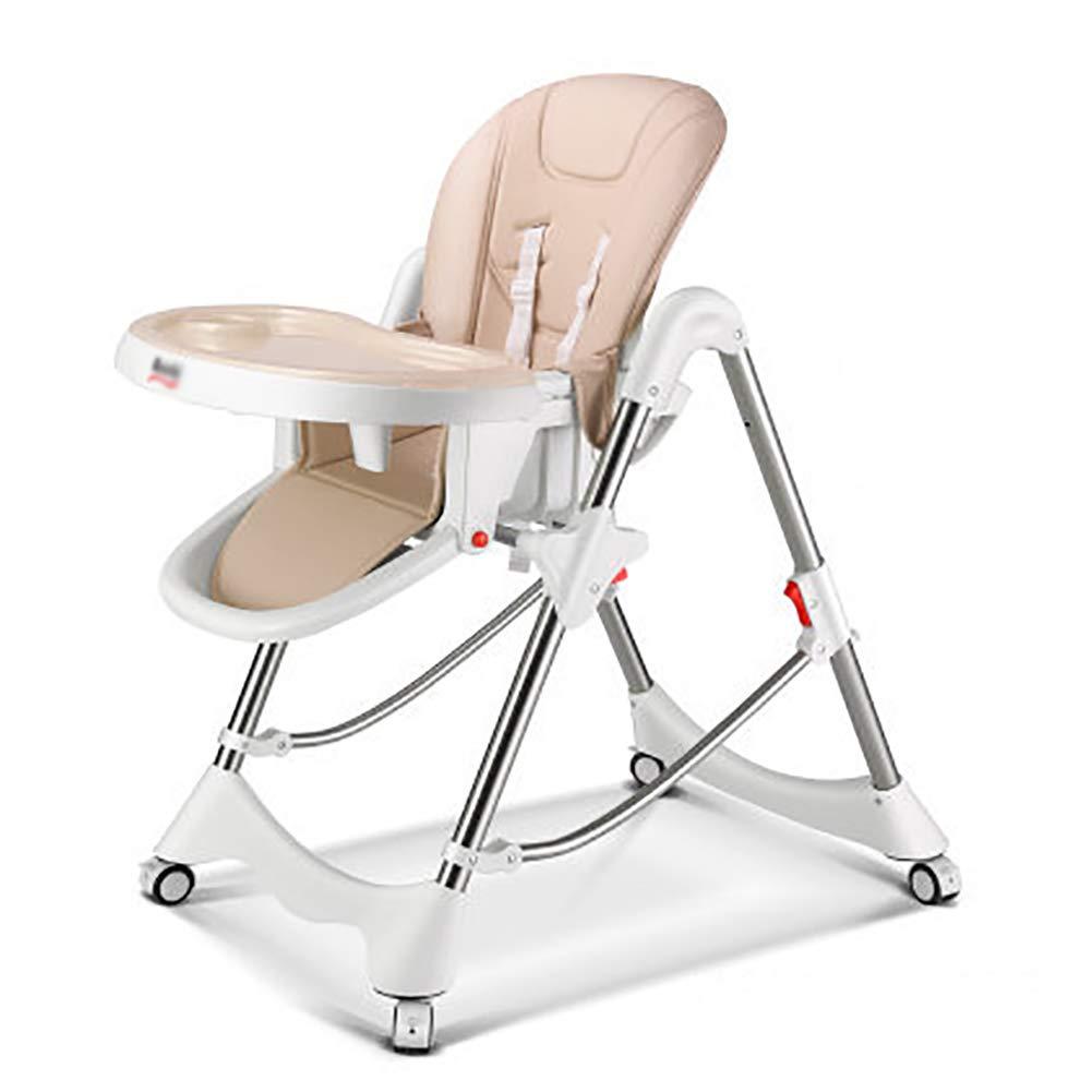 ベビーチェア ベビーハイチェア折りたたみ式キッズシート(車輪付き)(オレンジ&ピンク&ベージュ) (色 : Style3)  Style3 B07GGP65PM