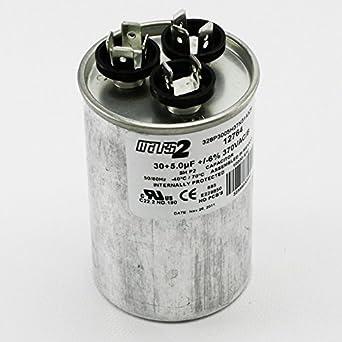 Motor Dual Run Capacitor Round 30 + 5 uf MFD 370 Volt VAC ...