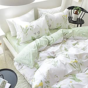 FADFAY Shabby Green Floral Duvet Cover Set Floral Pattern Design Cotton Girls Bedding Set 4 Pcs,1fitted Sheet+1duvet Cover+2pillowcases, Full Size