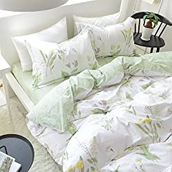 FADFAY Shabby Green Floral Duvet Cover Set Reversible Printing with Brushed Cotton Girls Bedding Set 4-Piece-1flat Sheet,1duvet Cover,2pillowcases-Twin Size