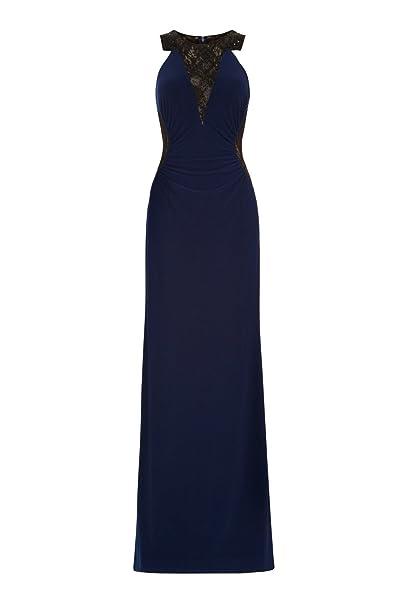 Dynasty Mujer Calla Azul Marino largo vestido sin bufanda estilo 1012810 Azul azul marino 40
