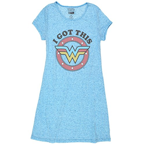 Briefly Stated Wonder Woman Juniors Plus Nightshirt Pajamas (Teen/Adult) (Extra Large, I Got This Blue)