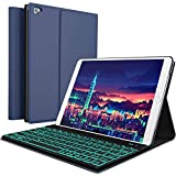 iPad Keyboard Case for New 2018 iPad, 2017 iPad, iPad Pro 9.7, iPad Air 1 and 2/BT Backlit Detachable Quiet Keyboard - Slim Leather Folio Cover - 7 Color Backlight - Apple Tablet (9.7, Blue)