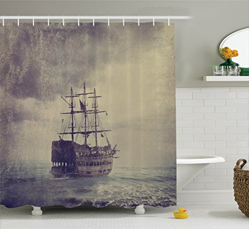 Personalized Cruise Ship (Nautical Shower Curtain by Ambesonne, Old Pirate Ship in the Sea Historical Legend Cruise Retro Voyage Grunge Style Art, Fabric Bathroom Decor Set with Hooks, 75 Inches Long, Tan Plum)