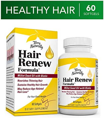 Terry Naturally Hair Renew Formula – 60 Softgels – Supports Healthy Hair Growth, Nourishes Thinning Hair, Contains Millet Seed Oil, Horsetail, Biotin Folic Acid – Gluten-Free – 30 Servings