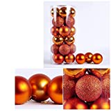 24pcs Christmas Party Balls for Christmas Tree Ornaments Home Birthday Party Garden Decoration Balls (Orange, 6CM)