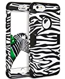 zebra print phone accessories - iPhone 7 Case,TOPSKY[Heavy Duty] Three Layers Rugged Armor Shockproof Soft Silicone Anti-Scratch Anti-Fingerprint Hard PC Hybrid Protective Case for iPhone 7,Zebra Texture Black