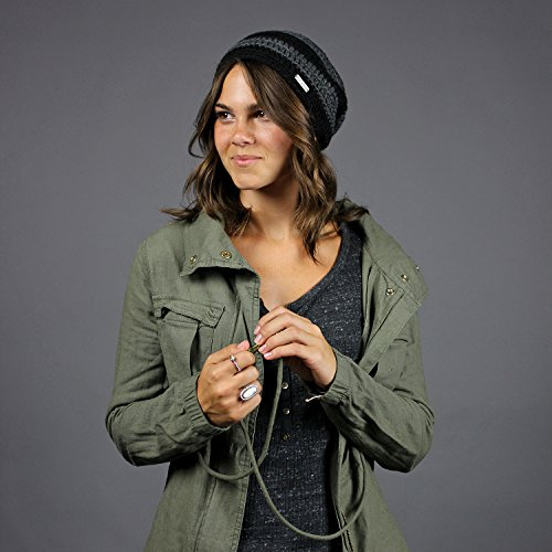 King & Fifth - Womens Slouchy Beanie - The Beeskie - Black/Charcoal Stripe