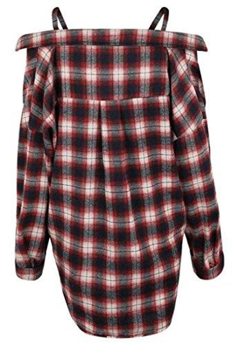 Spalla Donne Vestito Lunga Rosso Cromoncent Fredda Sexy Camicia Manica Allentata Plaid Uxq6a8Uw
