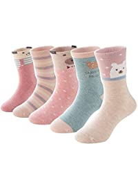 SUNBVE Baby Toddler Little Girls Cute Animals Cotton Crew Socks 5 Pack