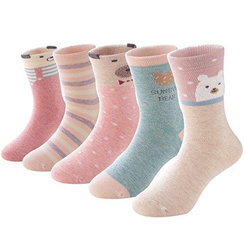 SUNBVE Toddler Little Girls Bears Fun Cotton Ankle Socks 5 Pack by SUNBVE (Image #8)