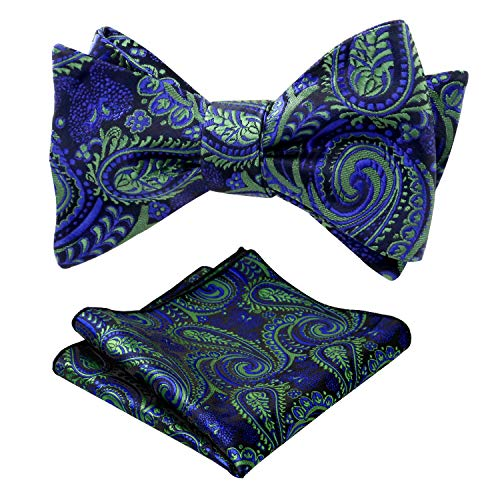 Alizeal Mens Paisley Adjustable Self-tied Wedding Bow Tie and Pocket Square Set, Dark Green