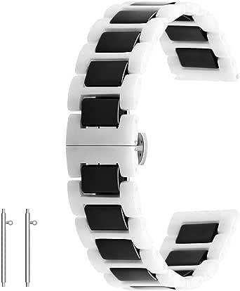 Correa de reloj de cerámica de liberación rápida de 20 mm 22 mm correa de reloj de despliegue de cierre pulsera para mujeres hombres negro blanco