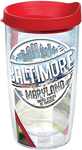 Tervis 1264304 Maryland - Baltimore Stamp Insulated Tumbler with Wrap and Red Lid 16oz Clear