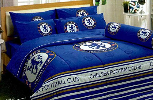 Chelsea FC Football Club Official Licensed Bedding Set, Bed Sheet, Pillow Case, Bolster Case, Comforter CS001 Set A+1 (Twin 42''x78'') by Tamegems Bedding