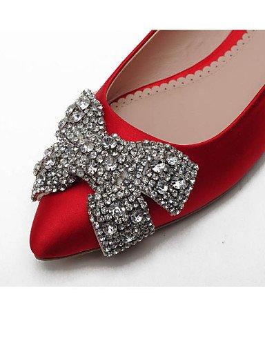 raso 5 us6 champán 5 uk4 eu37 rojo red PDX oficina zapatos mujeres plano casual cn37 punta Ballerina vestido de 5 talón Toe 7 Toe Flats cerrado qBtpg