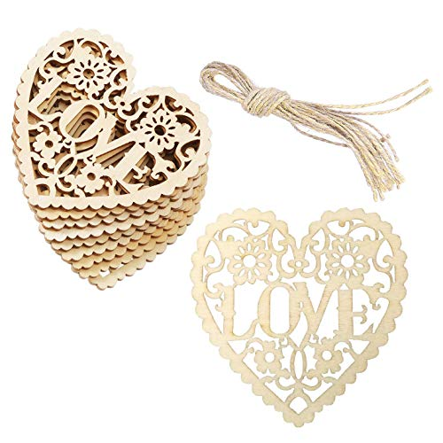Love Ornament (Supreona 30 PCS Heart Wooden Embellishments Wood Tags Love Hollow Hanging Ornaments with Twines for DIY Wedding Crafts Valentine's Day)