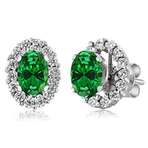 Gem Stone King 1.72 Ct Oval Green Simulated Emerald Sterling Silver Stud Earrings with - Jacket Emerald Womens