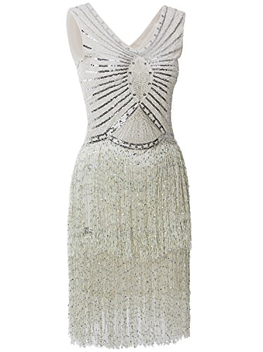 [Vijiv 1920s Style Inspired Ivory Charleston Sequin Layer Tassel Cocktail Dress Ivory Large] (Gangster Halloween Costumes 2016)