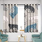 Simple curtains Seamless childish pattern with cute cats Creative kids texture for fabric wrapping textile wallpaper apparel Vector illustration Insulated with Grommet Curtains for Bedroom W 55'xL 63
