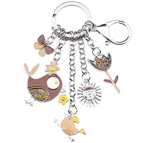 Bonsny Enamel Zinc Alloy Birds Flower Butterfly Key Chains Keyrings For Women Handbag Car Key Charms (Brown) ()