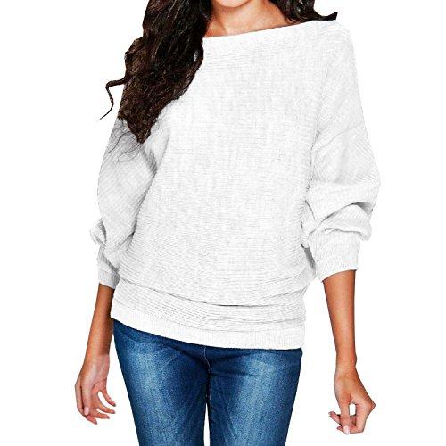 Minetom Mujer Mangas Largas Suéter Largo Casual Jersey Prendas De Punto De Cuello Redondo Color Sólido Jumper Tops Camisetas Blanco