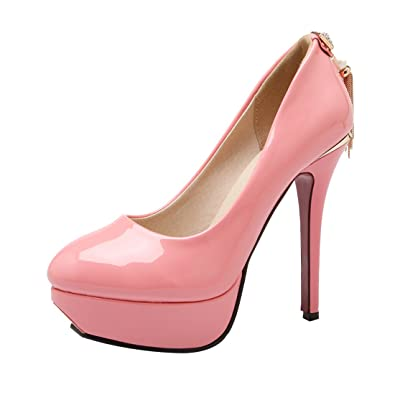 UH Damen Stiletto High Heels Plateau Lack Pumps mit Strass 12CM Absatz Elegante Party Schuhe