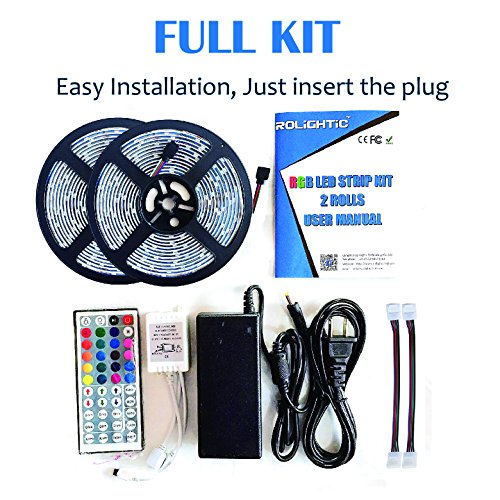 Rolightic rgb led light strip kit328ft 10m 5050 300ledsdc 12v rolightic rgb led light strip kit328ft 10m 5050 300ledsdc 12v waterproof led strip lights with 44key remote controller and power adapter for home aloadofball Images