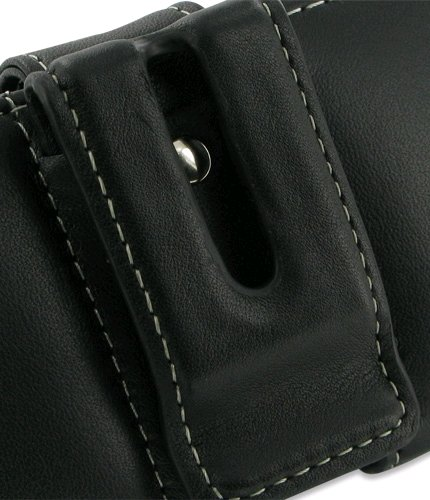 Pdair Black Leather Horizontal Pouch Case Cover for Blackberry Curve -