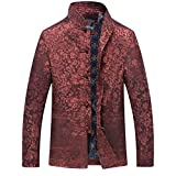 Men's O-neck Long Sleeve Stand Collar Chinese Dragon Disk Buckle Embroidery Winter TangJackets (XXL,brown)