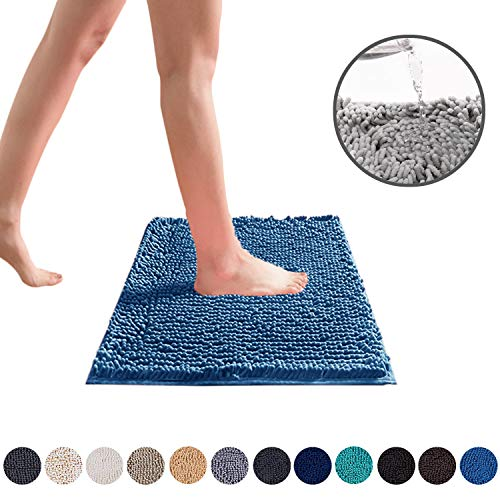 DEARTOWN Non-Slip Shaggy Bathroom Rug,Soft Microfibers Chenille Bath Mat with Water Absorbent, Machine Washable(Blue,20x32 Inches)