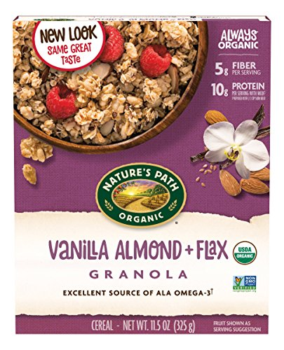Nature's Path Organic Flax Plus Granola Cereal, Vanilla Almond + Flax Granola, 11.5 Ounce (Packaging may vary)