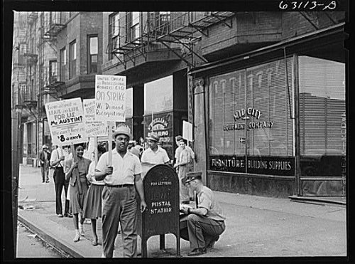 Photo: Picket line in front of Mid-City Realty Company. South Chicago,Illinois