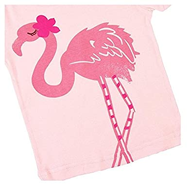 Girls Bird Pajamas Short Summer Clothes Flamingo 100/% Cotton Toddler Sleepwear for Kids Size 2T-7T