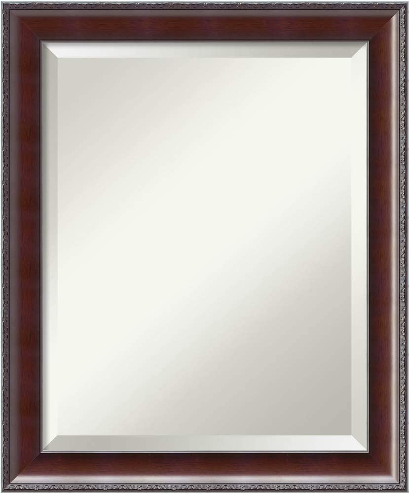 Amanti Art Framed Mirrors for Wall | Country Walnut Mirror for Wall | Solid Wood Wall Mirrors | Small Wall Mirror 19.50 x 23.50 in.