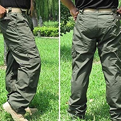 SHYSBV Outdoor Trousers Water Repellent Ripstop Pants Outdoor Training Hiking Waterproof Loose Pocket Straight Overalls Trousers-1/_4Xl