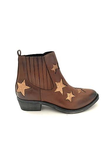 In Stivali Glitter Cuoio Pelle Nero Tacco Texani Stella ZOuTwPkXi