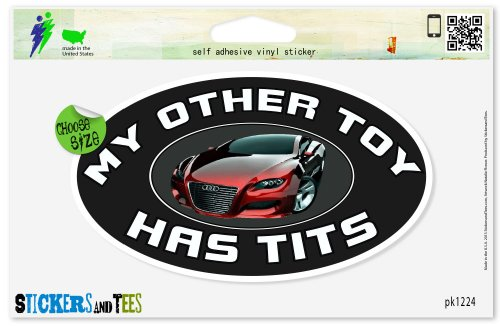 My Other Toy Has Tits Hot Car Chick Boobs Funny Rude Car Sticker Indoor Outdoor 8