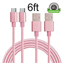 Type C Cable, MCUK 2 Pack 6ft Lightning Cable Charging Cord Nylon Braided Data Sync Cable for New Macbook 12 inch, OnePlus 2, LG G5, Nexus 6P/5X, ChromeBook Pixel (2P6ft)Pink