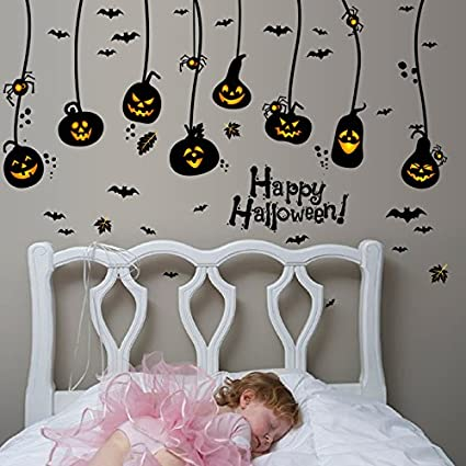 Happy Halloween DIY Wall Decals Wall Stickers Indoor Party Decorations for Kids Rooms Nursery Rooms Window & Amazon.com: Happy Halloween DIY Wall Decals Wall Stickers Indoor ...