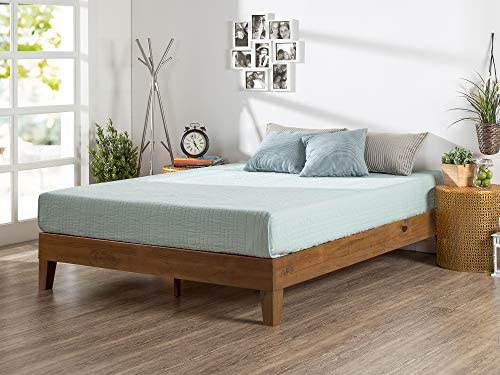 ZINUS Alexis Deluxe Wood Platform Bed Frame / Solid Wood Foundation / No Box Spring Needed / Wood Slat Support / Easy Assembly, Rustic Pine, Queen