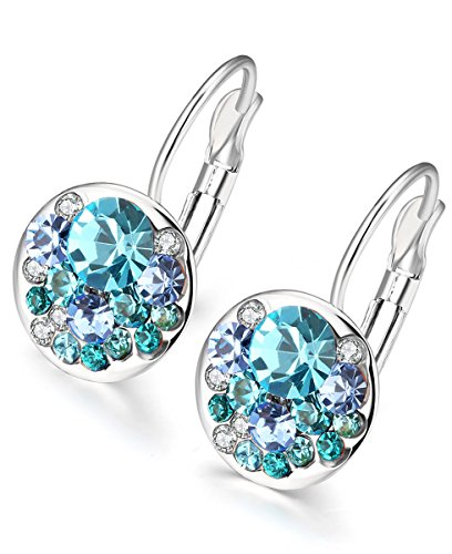 Silver Circular Blue Zircon Earrings Hoop Women 18K Gold Plated Swarovski Crystal (Circular Cubic Zirconia Earrings)