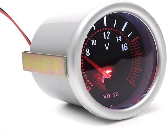 2  12V voiture num/érique 52 mm Volt Voltm/ètre Jauge compteur 20 LED blanche 8-16V Digita Voltm/ètre Volts Volt