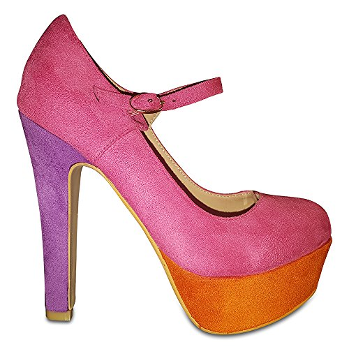 Shoe Kapri's Hot Pink Collection Suede Contrast Court Platform Jane Colour Mary Three HBHqSwF