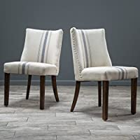Rydel Blue Stripe Fabric Dining Chairs (Set of 2)